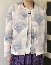 麻の着物でアンサンブル生徒の作品 - アトリエ A.Y. 洋裁教室