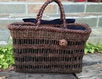 古い葡萄籠リメイク - 古布や麻の葉