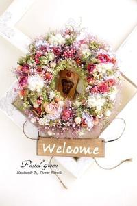 ふんわり。。「 お花畑」ドライフラワーリース - Pastel green - Flower diary
