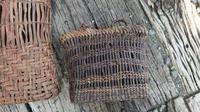 古い葡萄籠からショルダーバッグ - 古布や麻の葉