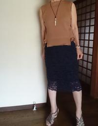 8月8日、70代。紺レーススカートにコーディネートをする - 楽しく元気に暮らします