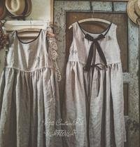 後ろ黒リボンのオーバーエプロンドレス - MIFUMI*  Petite Couture Rie
