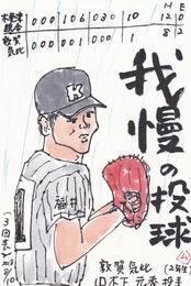 6日目 「雨ニモ負ケズ」「我慢の投球」 - ムッチャンの絵手紙日記