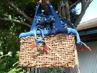 葡萄籠と内袋の巾着 - 藍ちくちく日記