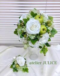 オーダー*白と緑のウェディングブーケ - atelier JULICE * Diary  福岡/桜坂  お花のオーダーと大人の女性の手仕事レッスンいろいろ…