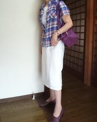 8月13日、70代、紫系チェックブラウスに白スカートでコーディネートをする - 楽しく元気に暮らします