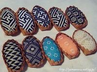 ブローチ大用刺繍モチーフ仕立て - ロシアから白樺細工