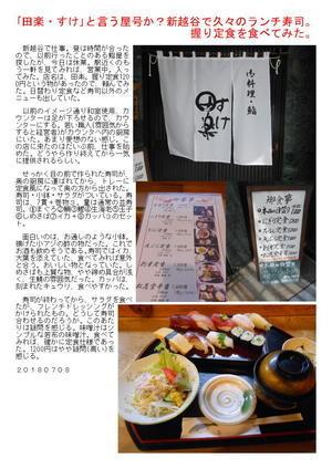 「田楽・すけ」と言う屋号か?新越谷で久々のランチ寿司。握り定食を食べてみた。