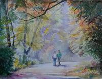 森の小路 - まり子の水彩画
