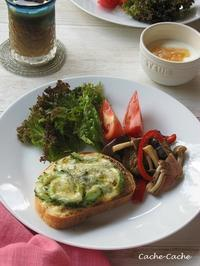ゴーヤチーズトーストと茄子のガパオ炒めのワンプレート♪ - Cache-Cache+