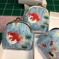 金魚がま口の仕上げ - ソライロ刺繍
