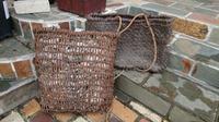 古い葡萄籠 2点 - 古布や麻の葉