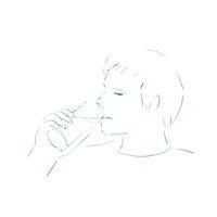 水を飲む - イラストレーション ノート