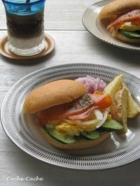 スモークサーモンとスクランブルエッグのサンドイッチ - Cache-Cache+