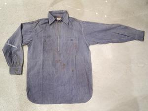 40's MONTGOMERY WARD Pull Over Half-Zip Purple Chambray Shirts - DELIGHT CLOTHING&SUPPLY
