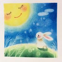 月とウサギ - アトリエ絵くぼのパステルアート教室