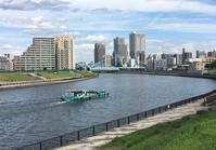 72隅田川河岸から東京電力送電橋を望む - 荒川区百景、再発見