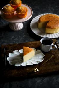 チーズケーキ レシピ ( スフレ・ベイクド・ニューヨークの融合・・かしら ) - のんびりのびのび