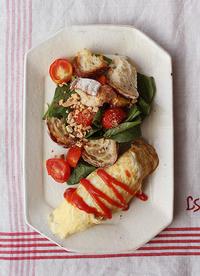 オムレツとパンサラダ - Nasukon Pantry