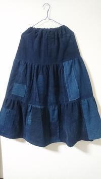 古布藍のつぎはぎスカート完成 - 紅い風