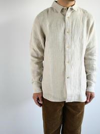 niuhansLinen Wool Flannel Shirt / Ecru - 『Bumpkins putting on airs』