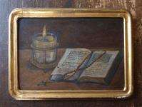 静物画 聖書と蝋燭 ロザリオ  / F511 - Glicinia 古道具店