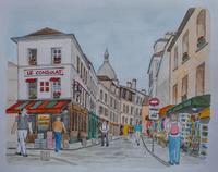 フランスの旅:モンマルトルのル・コンシュラ - オヤジの水彩画集
