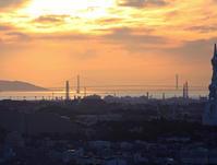大阪 河南町 持尾 明石海峡大橋と夕日 2 - 魅せられて大和路