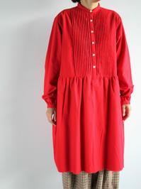 NEEDLES Pin Tuck Dress - Cotton Flannel / Red - 『Bumpkins putting on airs』