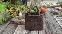 古い葡萄籠に持ち手付け完了 - 古布や麻の葉