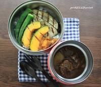牛筋カレー弁当 - 男子高校生のお弁当