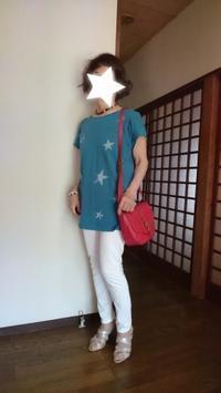 9月1日、70代。赤いバックと青いTシャツでコーディネートをする - 楽しく元気に暮らします