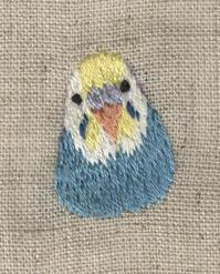 セキセイインコの刺繍をしました。 - vogelhaus note