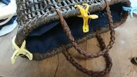 チマチマと籠に中袋付け - 古布や麻の葉