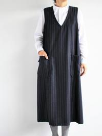 ASEEDONCLOUD HW dress / wool stripe - navy - 『Bumpkins putting on airs』