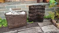 古い大きな葡萄籠 - 古布や麻の葉