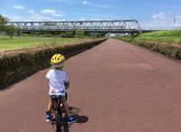 大井川河川敷で新幹線を眺めながら次男の自転車練習。 - 子どもと暮らしと鉄道と
