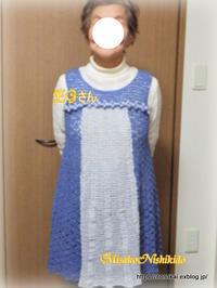 生徒さんの作品:ジャンパースカート - ルーマニアン・マクラメに魅せられて