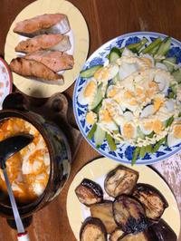 9月14日、塩鮭、スンブドゥ、サラダ、なすのポン酢醤油焼き - 今夜のおかず