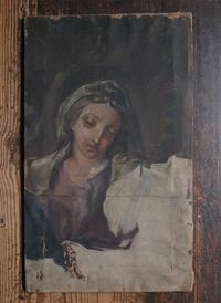 油彩 聖母マリアの肖像 未完成   / F628 - Glicinia 古道具店