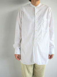 Sans limiteSTANDCOLLAR SHIRT - WHITE / TWIN NEEDLE (LADIES ONLY) - 『Bumpkins putting on airs』