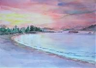 夕陽 - まり子の水彩画