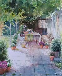 中庭 - まり子の水彩画