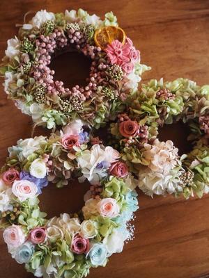 プリザあじさいのリースレッスン - 「花」と「自分」を楽しむ花教室*  fleur Nature-フルール ナチュール-