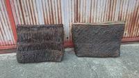 古い籠 - 古布や麻の葉