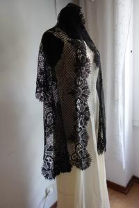 黒手編みボビンレースショール106Hold(Ued9.19) - スペイン・バルセロナ・アンティーク gyu's shop