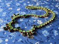 緑系ラインストーンの連爪のネックレス -  Der Liebling ~蚤の市フリークの雑貨手帖2冊目~