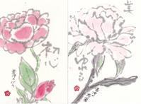 若冲の模写  薔薇と芍薬 ♪♪ - NONKOの絵手紙便り