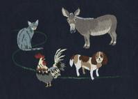 「ブレーメンの音楽隊」の刺繍。 - vogelhaus note