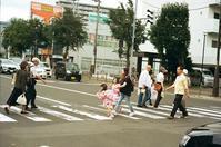 バスセンター前の横断歩道とリムジンバス - 照片画廊
